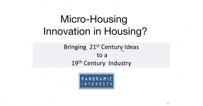 Cover of Patrick Kennedy's presentation slides: Micro-Housing: Innovation in Housing?
