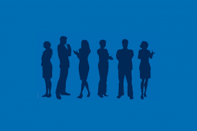 Dark blue silhouettes on medium blue background