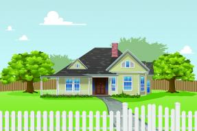 Drawing of a house with a picket fence