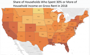 Map: Share of Households Who Spend 30% or More of Household Income on Gross Rent in 2018