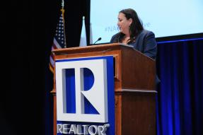 Elizabeth Mendenhall speaking at the Regulatory Issues Forum at the 2018 REALTORS® Legislative Meetings.