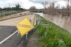 """Flooded"" sign on a bike path near a stream in a residential area."