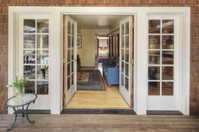 French doors open to home