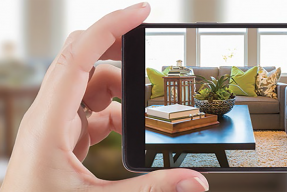 Taking a photo of a living  room with a cell phone