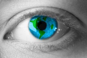 Image of globe in the iris of an eye