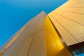 Gold building, blue sky