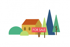 "Illustration: House, trees, and ""For Sale"" sign"