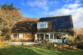 House with solar panels on the roof