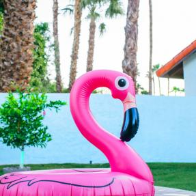 Pink Flamingo Inflatable in Garden