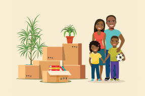 Illustration: Family with children and moving boxes