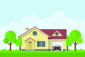 Illustration of a yellow house and red car