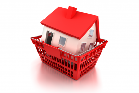 Illustration of a red-roofed white house in a shopping basket