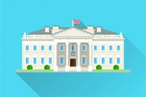 Illustration: The White House on a blue background