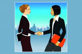 Illustration of two professional women shaking hands