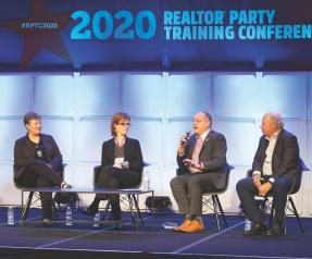 AEC Chair John Sebree, with fellow AEs, speaking at the 2020 REALTOR® Party Training Conference.