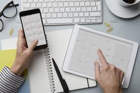 Keyboard, notebook, two calendars