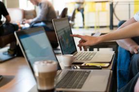 Laptops in a coffee shop