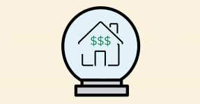 Line drawing of a house and dollar signs in a crystal ball