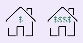 Line drawing of two houses with dollar signs