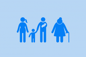 Multigenerational family silhouette