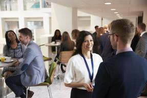 People networking at a conference