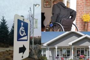 Handicap sign, man in wheelchair, accessible home