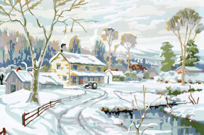 Painted winter scene with house