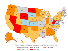 Map: Percent Change in Construction Employment in May 2019 From One Year Ago