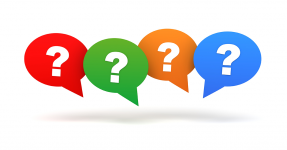 Question marks in speech bubbles