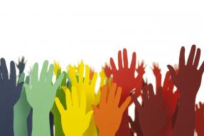 Raised hands collage