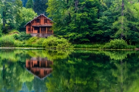 Red house on lake