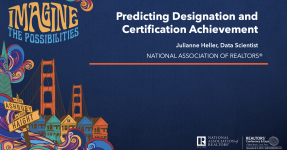 Presentation slides cover image: Predicting Designation and Certification Achievement
