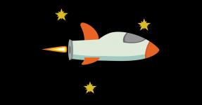 Cartoon rocket ship and stars