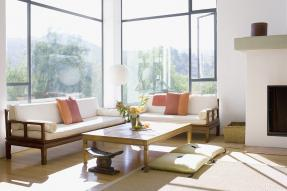 Staged living room with big windows