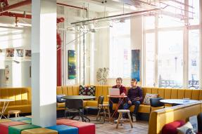 Startup office decorated in primary colors