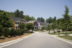 Street view of a suburban neighborhood