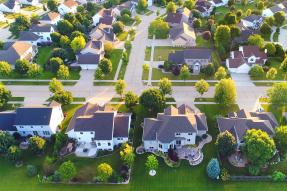 Aerial view of a suburban neighborhood
