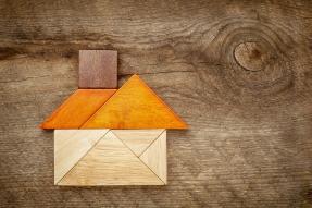 Tangram wooden house