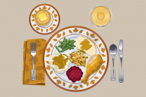 Illustration of a place setting with Thanksgiving food