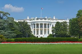 The White House, with red and white flowers on the lawn