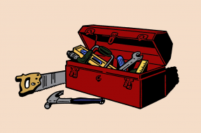 Drawing of a toolbox and tools