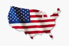 American flag in the shape of the United States of America