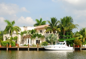 Waterfront home with boat and dock in Florida