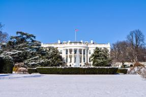 The White House in Washington DC in winter