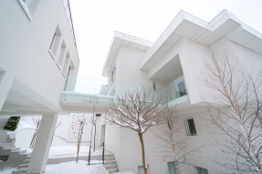 White housing complex in winter