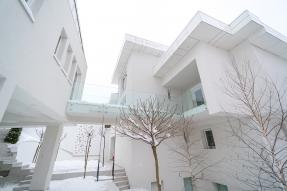 White housing complex in winter