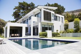 White modern house with pool