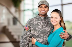Woman with a man in military camouflage