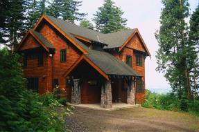 Wood-shingled house