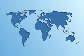 World map in shades of blue